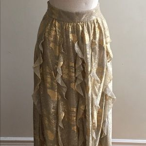 Full Length Gold Metallic Women's Skirt Size 6